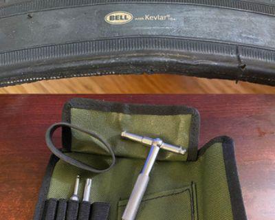 "26"" MTB tire w/ Kevlar + tubes + multitool"