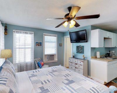 New listing! Beach-chic, Dog-friendly studio, walk to the Seawall - free WiFi! - Galveston
