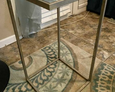 Square Mirrored Metal Accent Side Table
