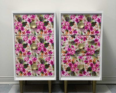 White & Floral End Tables