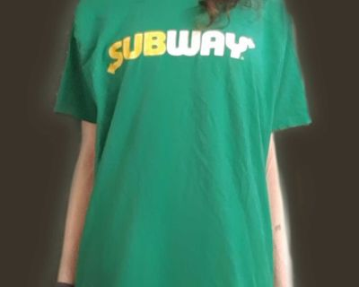 SUBWAY Green Unisex Employee T-Shirt Size M & Fresh Embroidered Hat / Adjustable Cap