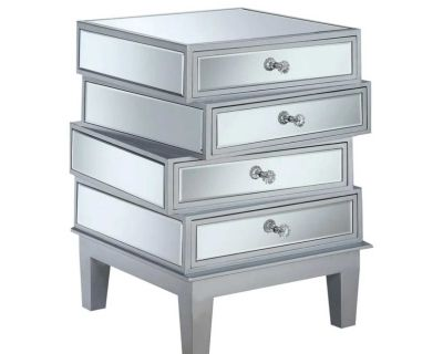 NEW - IN-BOX - ONE (1) GOLD COAST SILVER MIRRORED NIGHTSTAND/SIDE TABLE