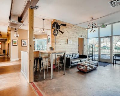 Common area of creative office space, Denver, CO