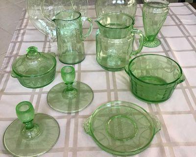 Vintage Green Cameo Depression Glass