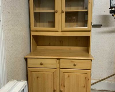 Pine coloured kitchen hutch two pieces