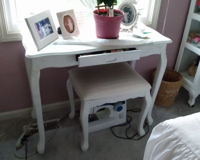 Small Bedroom Table & Upholstered Stool