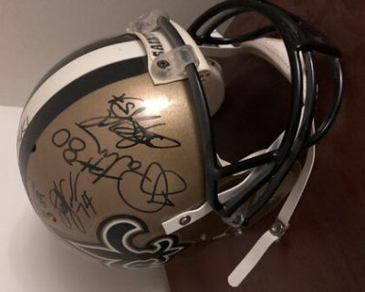 Jerome Pathon 2002 game worn helmet signed by offensive unit