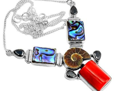 """New - Red Coral, Abalone Shell and Fossil Ammonite 925 Sterling Silver 20"""" Necklace"""