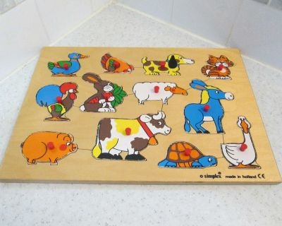 Vintage kids wooden puzzle made in Holland