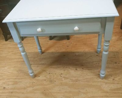 Nice Table with Drawer and New Ceramic Knobs. Freshly Painted Marina Gray. 34x19x30