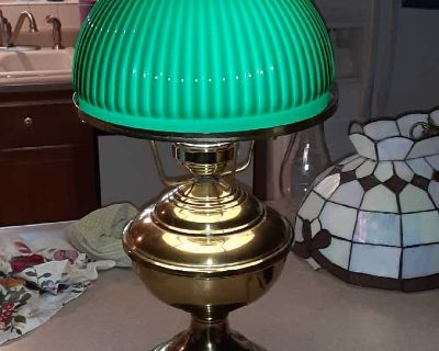 Antique brass and green lamp