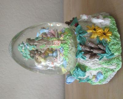 Easter Bunny Scene Musical Snow Globe, Egg Shape