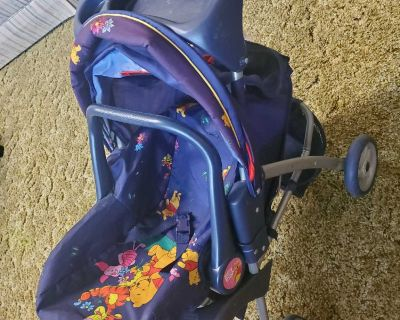 Vintage Pooh Bear Doll stroller/bucket seat with Canopy