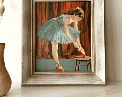 Antique Ballerina Painting w Wood Frame