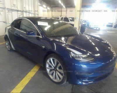 Salvage Blue 2018 Tesla Model 3