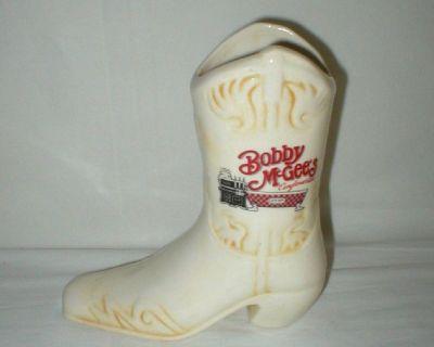 Bobby  McGee's Souvenir Ceramic Cowboy Boot EST 1971
