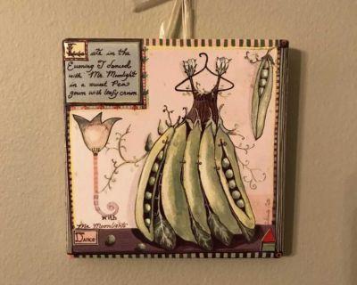 Wendy Costa Artwork Coaster Tile Trivet Pea Summer Dance Dress 4.25 x4.25