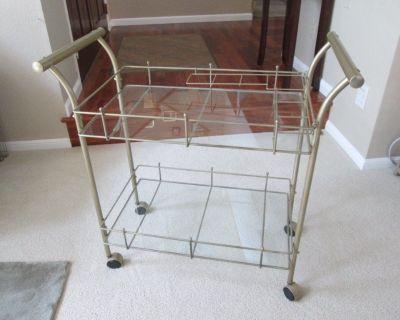 Antique Brass, 2-Tier Rolling Bar Cart