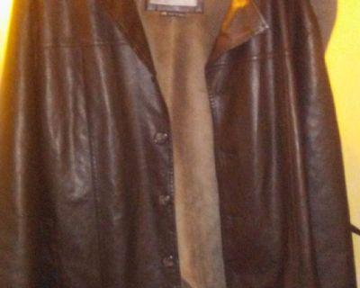 Black leather jacket with plush lining