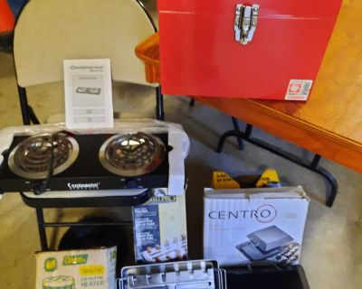 Continental electric 2 burner stove, Coleman catalytic heater tool/safety box, grill products wing rack and multi purpose cooker