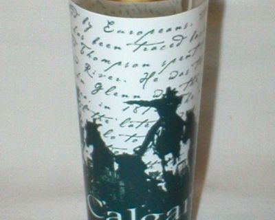 Cowboys - Tall Shot Glass w/ Gold Trim - Calgary Canada - Only Displayed