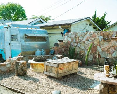 Vintage Backyard Stone Cantina, Trailer, and Firepit, long beach, CA