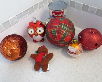 Lot of red Christmas ornaments