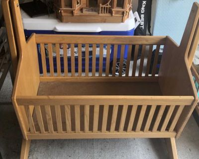 Handmade wood baby cradle