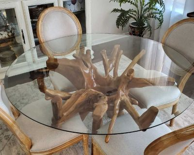 """Teak root dining table with 55"""" glass top"""