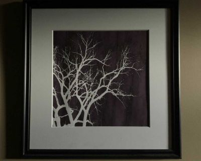 LARGE WELL MADE PICTURE WITH LIGHTED TREE