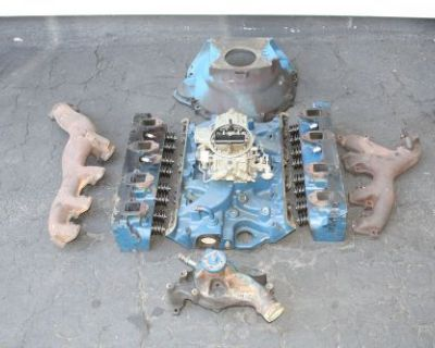 1969 Ford Mustang 428 Cobrajet Heads Intake Carb Bellhousing Exaust Manifolds
