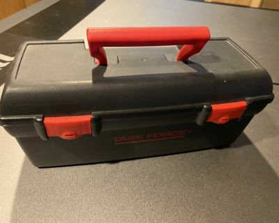 Real toolbox with assorted play tools