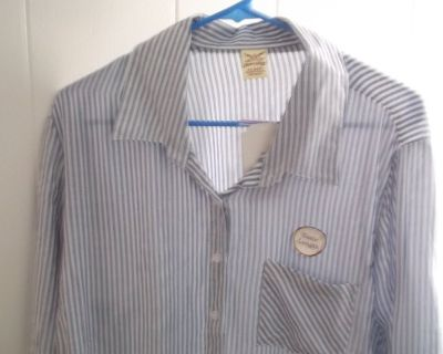 WOMANS FADED GLORY BLUE & WHITE STRIPED SHIRT SIZE 16W