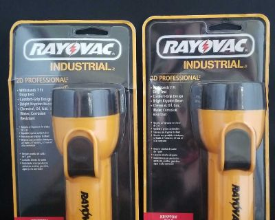 Two NIB Rayovac Industrial 2D Professional Flashlights