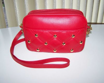 Red with Gold Metal Trim Purse with Shoulder Strap