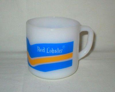 Vtg Red Lobster White Milk Glass Coffee Mug - Michigan GO BLUE