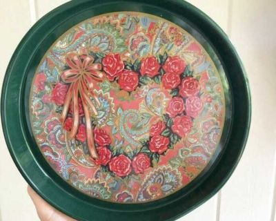 Vintage Nobel Hall Tin Pink and Green Floral Serving Tray. 1980 s. Near nbhs.