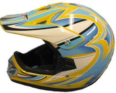 Medium New Yellow Blue White Youth Bmx Atv Dirt Bike Helmet 310