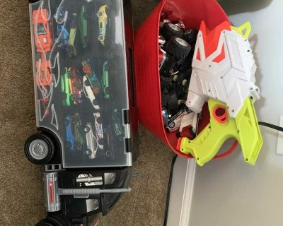 Hot Wheels, truck carry case, and car launcher