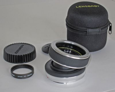 FS: Lensbaby Composer (for Canon EF) with Double Glass Lens, F4 aperture and Macro attachment, Case