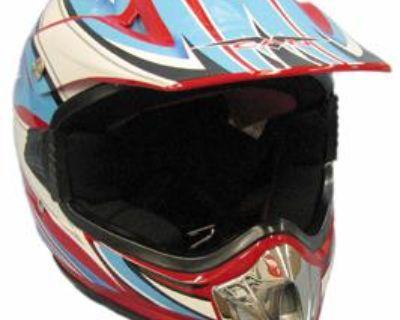 Medium New Red White Blue Youth Bmx Atv Dirt Bike Helmet 310 E
