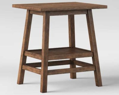 NEW - ASSEMBLED W/TAG - ONE (1) HAVERHILL RUSTIC WEATHERED WOOD SIDE TABLE W/SHELF