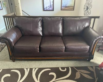 Bonded leather sofa and loveseat, ottoman