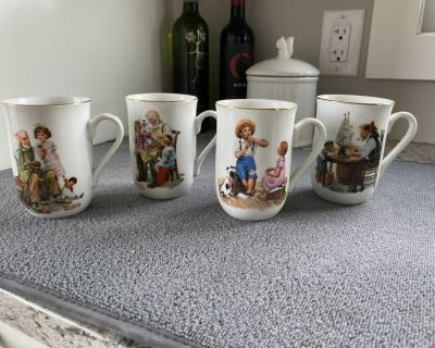 Norman Rockwell Museum 1982 Collectable Mug Set of 4
