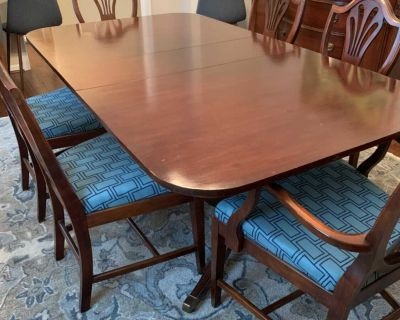Wood dining table and chairs set