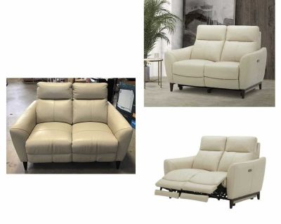 Crosslin Leather Power Reclining Loveseat with Power Headrests (Assembled)