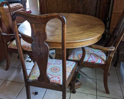 Solid wood table, six chairs, and hutch/server
