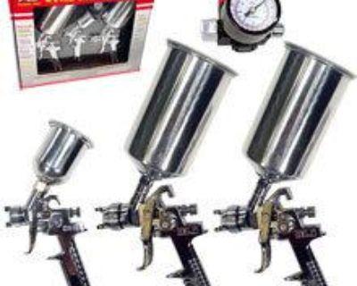 4pc Pro Air Hvlp Paint Spray Gun Set Auto Car Painting Automotive Tools