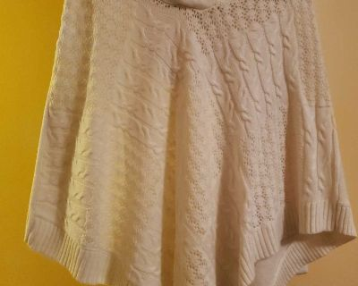 White poncho top with hood