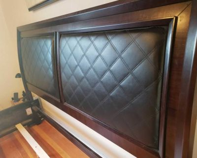 Real wood bed frame & padded headboard